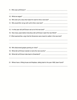 Social Studies - Eric the Red and Leif the Lucky story quiz