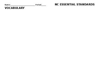 Social Studies Essential Standards Based Terms