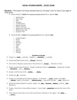 Social Studies - Europe Unit - End of Unit Study Guide