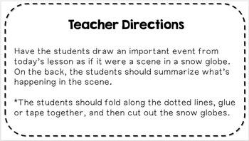 Social Studies Exit Slip Freebie!  Interactive Snow Globe