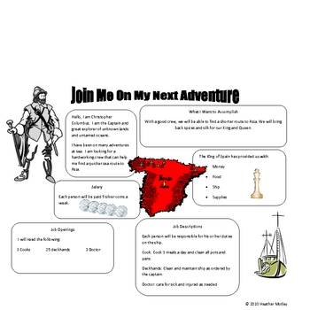 Social Studies: Explorer: Help Wanted Ad Project
