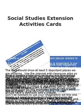 Social Studies Extension Activities Cards