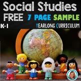 Social Studies FREE SAMPLE of K-1 Yearlong Bundle