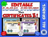 Social Studies Fair Certificates II - Editable