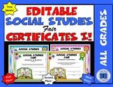 Social Studies Fair Certificates - Editable