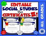 Social Studies Fair Certificates III - Editable