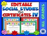 Social Studies Fair Certificates IV - Editable