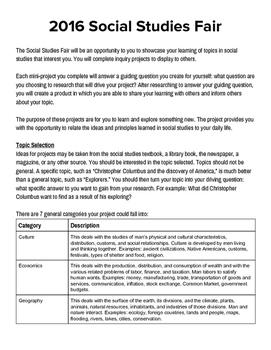 Social Studies Fair Guidelines