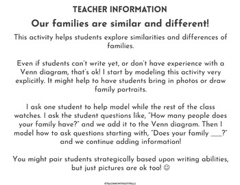 |FREE!| Social Studies: Comparing Families Partner Activity with Venn Diagram