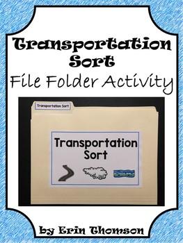 Social Studies File Folder Activity ~ Transportation {Land, Air, Water}