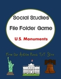 Social Studies File Folder: U.S. Monuments Match (Special Education & Autism)