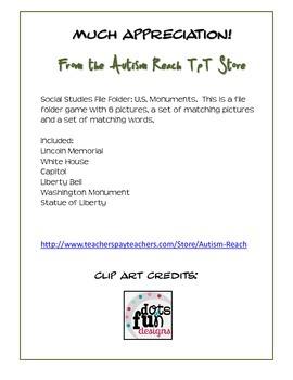 Social Studies File Folder: U.S. Monuments Match (Special Education & Autism)