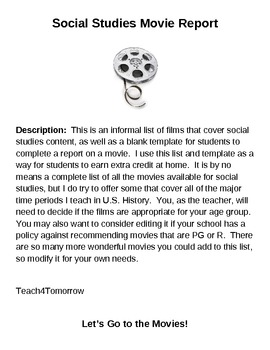 Social Studies Film / Movie Activity