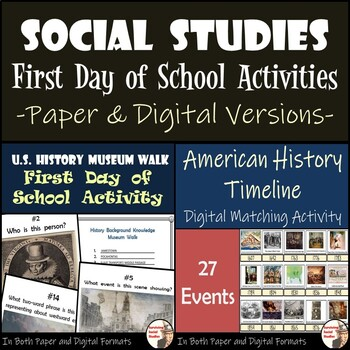 Social Studies - First Day of School Activities by Surviving