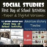 Social Studies First Day of School Activities Bundle