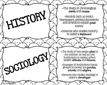 Social Studies Flash Cards and Crossword Puzzle - Black and White