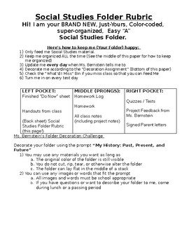 Social Studies Folder Organization Rubric