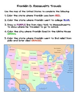 Social Studies Franklin Roosevelt's Travels Worksheet