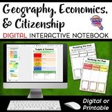 Social Studies Geography Economics Citizenship DIGITAL Interactive Notebook Unit