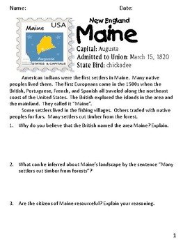 Social Studies Geography Maine State Morning Work/ Discussions/ Activities