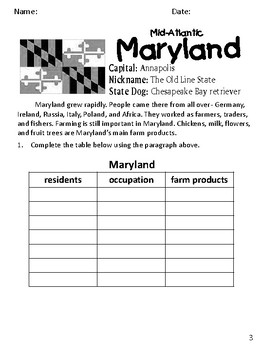 Social Studies Geography Maryland State Morning Work/ Discussions/ Activities