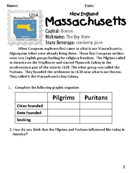 Social Studies Geography Massachusetts State Morning Work/ Prompts/ Activities