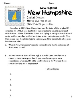 Social Studies Geography New Hampshire State Morning Work/ Prompts/Activities