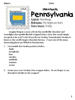 Social Studies Geography Pennsylvania State Morning Work/ Discussions/Activities