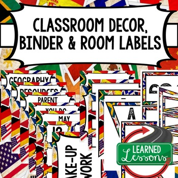 Social Studies Geography & World History Binder Covers and Labels Flags Grunge