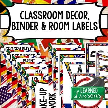 SECONDARY CLASSROOM DECOR, BINDER LABELS,  World Flags Grunge