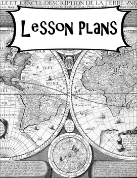 Social Studies Geography and World History Binder Covers and Labels BW Map