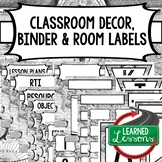 SECONDARY CLASSROOM DECOR, BINDER LABELS,  World Map Black