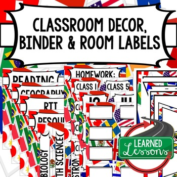 SECONDARY CLASSROOM DECOR, BINDER LABELS, ALL SUBJECTS, World Flags