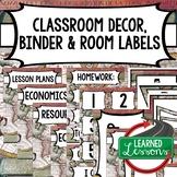 SECONDARY CLASSROOM DECOR, BINDER LABELS, World Map, Globe
