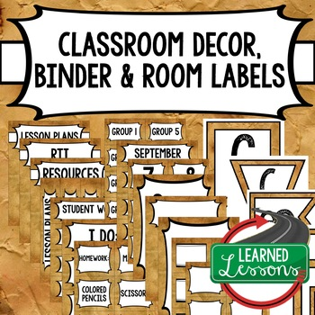SECONDARY CLASSROOM DECOR, BINDER LABELS, Grunge
