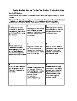 Social Studies Georgia Tic Tac Toe for 1st Grade