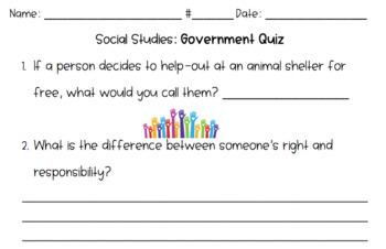 Social Studies Government & Economics Worksheet Bundle *Third Grade*