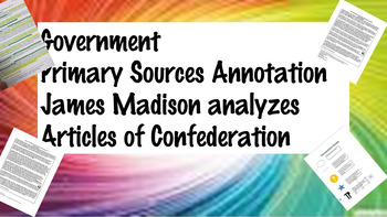 Social Studies Government Madison Articles of Confederatio