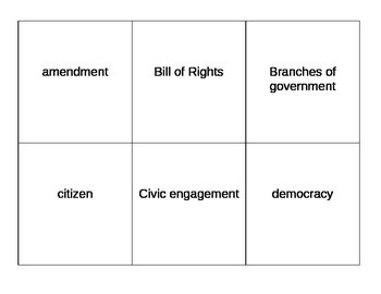 Social Studies Government Vocabulary Cards
