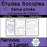 Social Studies Gr 5 in FRENCH Ontario Unit, Inquiry,  Distance Learning
