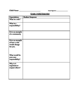 Social Studies Grade 1 & 2 Assessment
