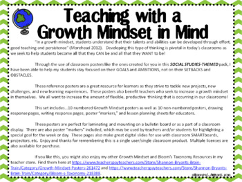 Social Studies Growth Mindset Posters and Writing Activities