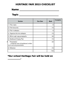 Social Studies / Heritage Fair Inquiry Student Package and Rubric