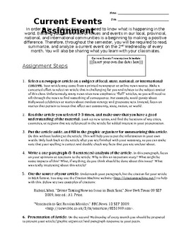 Social Studies / History Current Events Template (with Rubric)