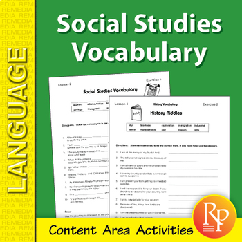 Social Studies, History, & Geography: Content Area Vocabulary Unit