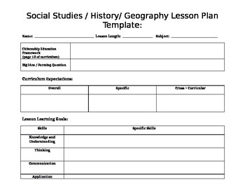 Social Studies History Geography Lesson Plan Template TpT - History lesson plan template