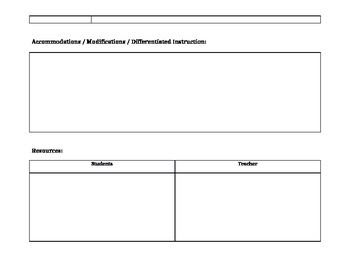Social Studies / History / Geography Lesson Plan Template