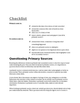 Social Studies - History - Primary and Secondary Sources activity