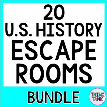 20 ESCAPE ROOMS Save 20%: U.S. History, Civics, Growth Mindset, People, Holidays
