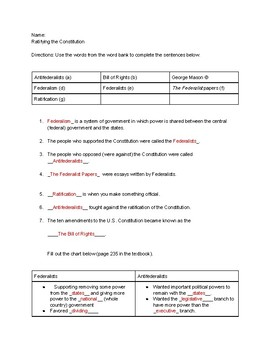 Social Studies Homework - Creating America Chapter 8 Section 3 - Modified